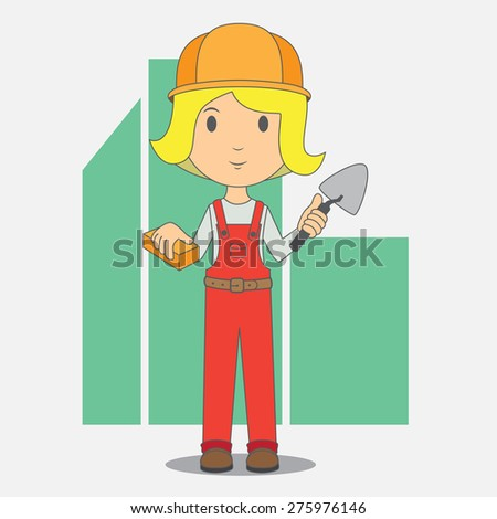 Female construction worker, high quality vector cartoon EPS10 - stock vector