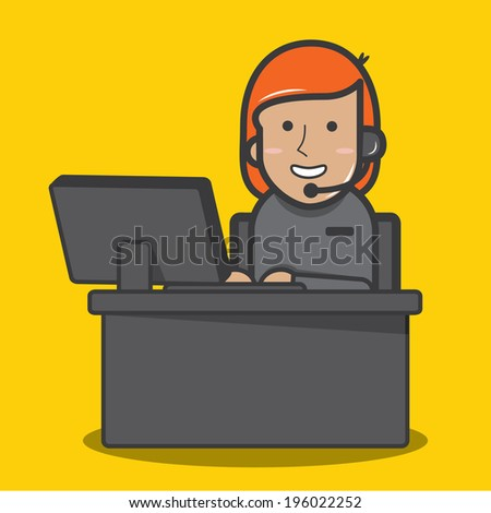 Female customer support operator - vector  - stock vector