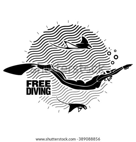 Female diver, under water. Illustration in the engraving style - stock vector