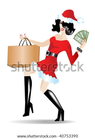 Female dressed in Santa clothing while carrying shopping bag and displaying money saved.