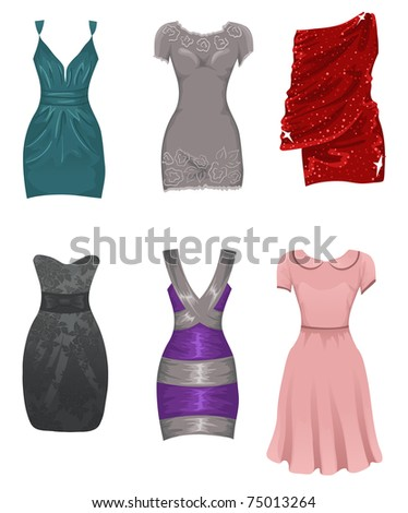 Female dresses - stock vector