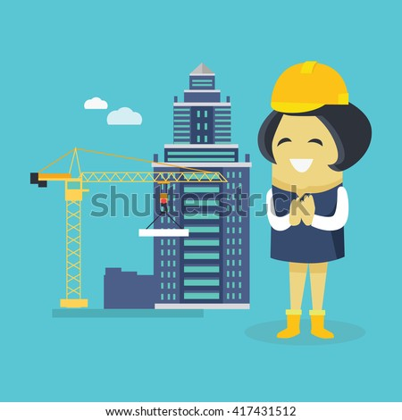 Female engineer and a building construction. Young successful happy architect woman superintendent in a helmet. Construction of a new house or sovremennog business ofice. Vector illustration - stock vector
