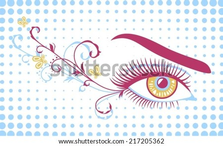 Female eye with ornamental decoration - stock vector