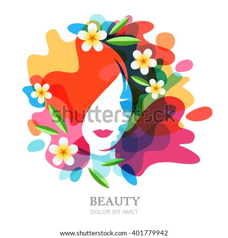 Female face and plumeria flowers on multicolor splash background. Vector abstract multiple exposure illustration, isolated. Design concept for spa, beauty salon, cosmetics, cosmetology, hairstyle.
