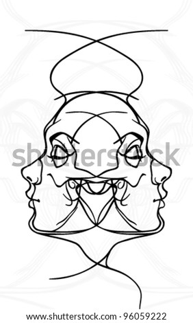 Female face and skull tattoo - stock vector