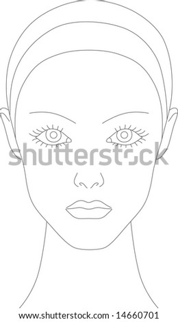 Female face chart for makeup artists - stock vector