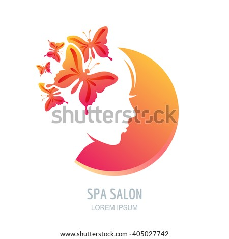 Female face in circle shape. Woman with butterflies in hair. Vector beauty floral logo, sign, label design elements. Trendy concept for beauty salon, massage, spa, natural cosmetics. - stock vector