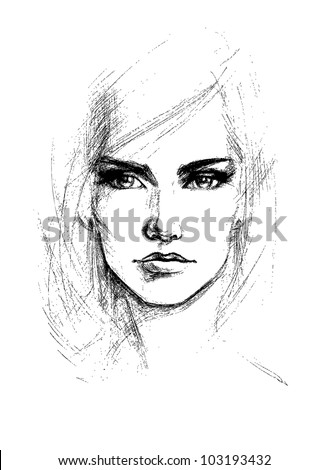 Female face, vector illustration - stock vector