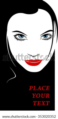 Female Face with Blue Eyes and Red Lips. Black and White. Silhouette Outline