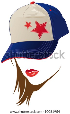 Female face with USA cap - stock vector