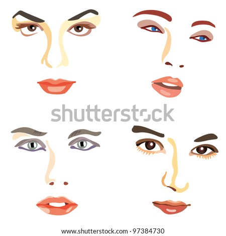 Female faces made of few colored stroke lines - stock vector