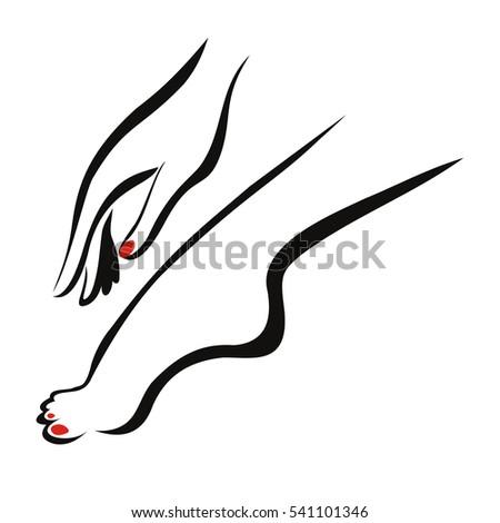 chân Nữ và tay, cắt sửa móng tay và móng chân.  logo.  minh họa véc tơ