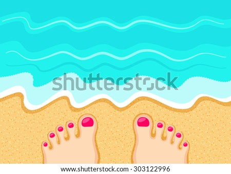 Female feet on the sand in front of the sea waves. Rest at the beach. Leisure and relaxation concept - stock vector