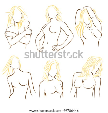 Female figures outlines in six different poses - stock vector