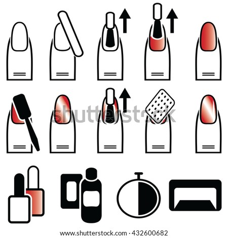Female gel & hybrid manicure with cat eye effect , nail polish with use of magnetic polish and magnetic plate  in  color icons set   - stock vector