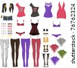 Female glam rock clothes - stock photo