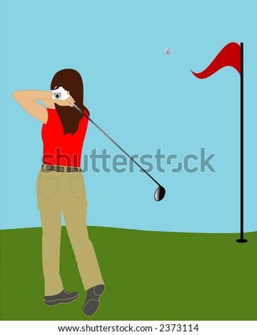 female golfer illustration series - stock vector