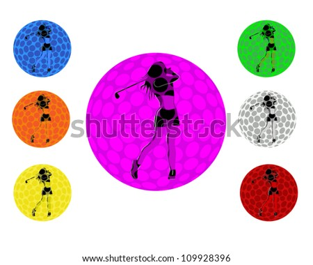 Female golfer taking a swing within a golf ball with 7 color variants - stock vector