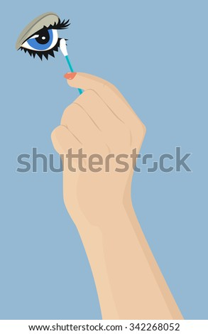Female hand with a cotton swab corrects eye makeup. Vector illustration