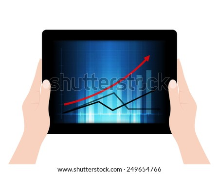 Female hands holding a tablet with business graph background - Vector