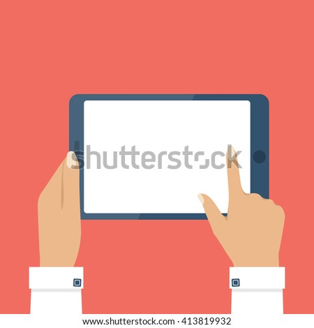 Female hands holding tablet computer touch screen. Tablet in woman hands. Woman hold tablet. Blank tablet screen. Touch screen of tablet. Vector illustration flat design style. - stock vector