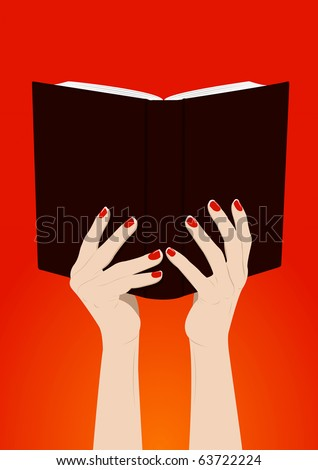 Female hands turns book page with copy space