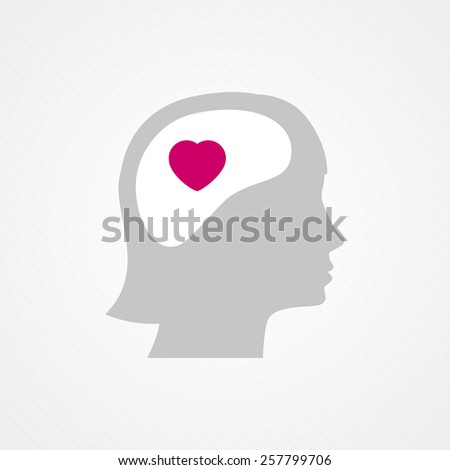 Female head and heart - stock vector