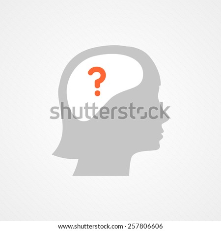Female head and question - stock vector