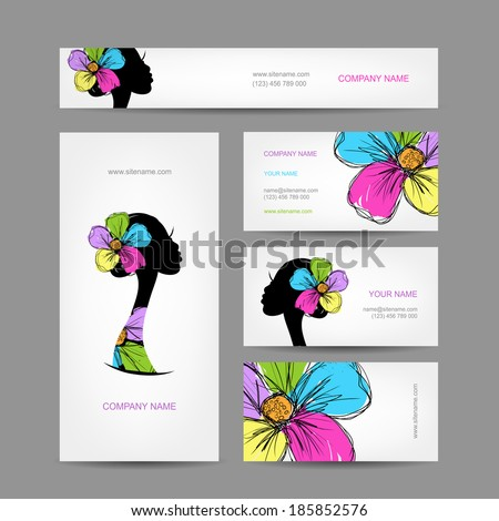 Female head silhouette for your design - stock vector