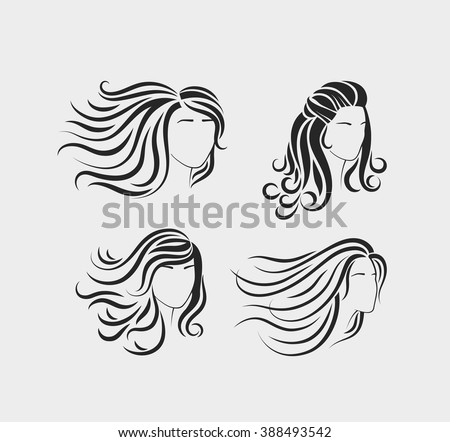 Female head silhouettes with beautiful hair. Silhouettes of beautiful womens heads with long hair - stock vector