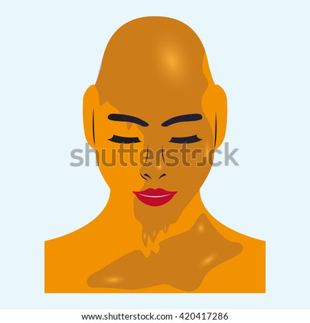 Female head without hair, covered with gel. Vector colored illustration.