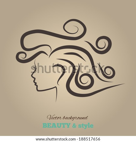 Female heads with beautiful hair. vector illustration. - stock vector