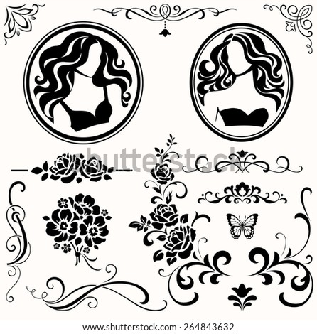 Female icons - stock vector