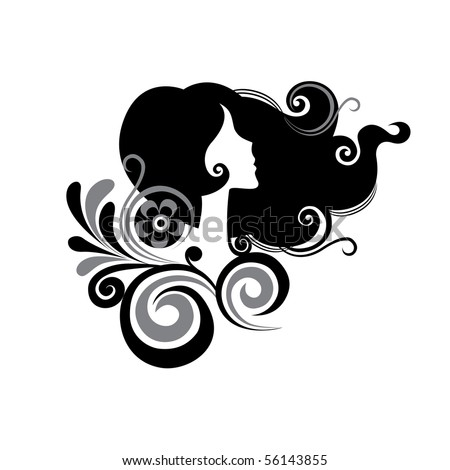 female in profile with flowers - stock vector
