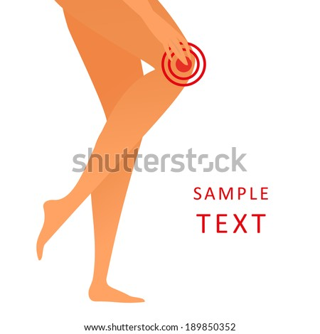 Female legs feels a pain in the joints - vector illustration (vertical position) - stock vector