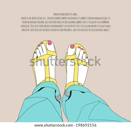 Female legs in boyfriend jeans and flip-flops. Summer fashion illustration - stock vector