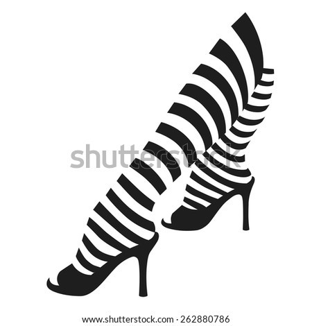 Female legs in striped stockings - stock vector
