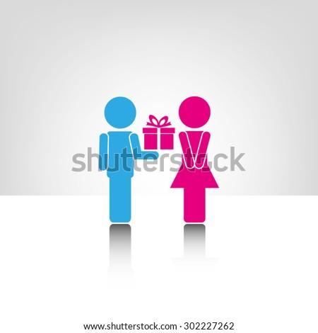female,male,gift - stock vector
