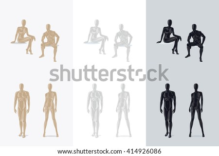 Female Mannequin and Male Mannequin sitting and standing. Vector illustration - stock vector