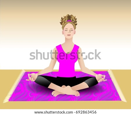 Female meditating in a seated pose on patterned rug