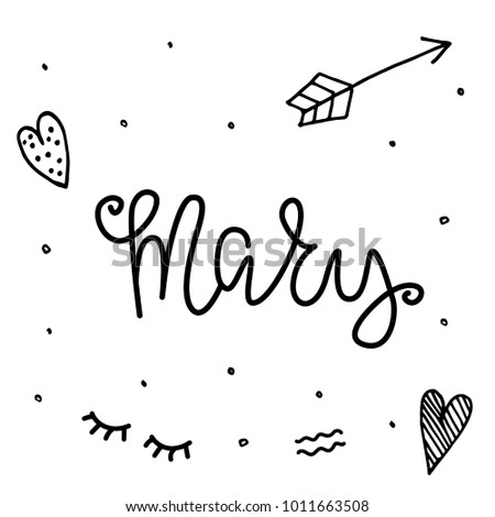 Female name mary template invitation greeting stock vector hd female name mary template for invitation and greeting cards envelopes t shirts stopboris Choice Image