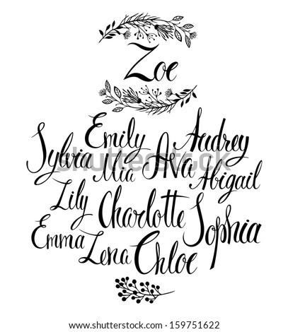 Female names. Popular names for girls. Calligraphy - stock vector