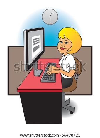 Female office worker - stock vector