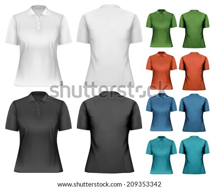 Female polo shirts. Design template. Vector. - stock vector