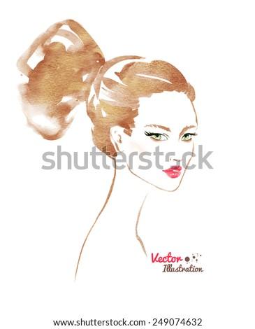 Female portrait. Modern hairstyle. Vector illustration - stock vector