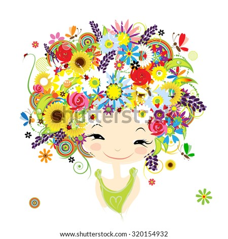 Female portrait with floral hairstyle for your design. Vector illustration - stock vector