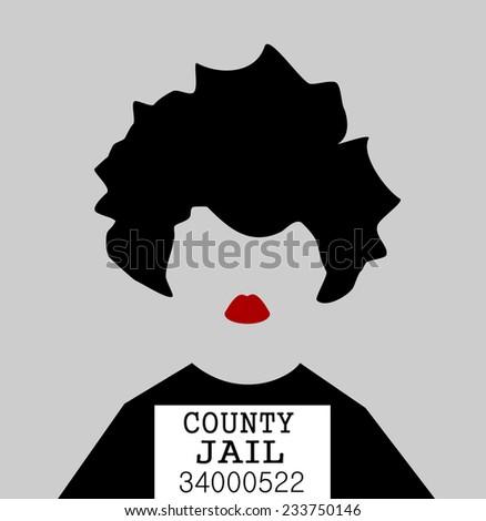 female prisoner mugshot - stock vector