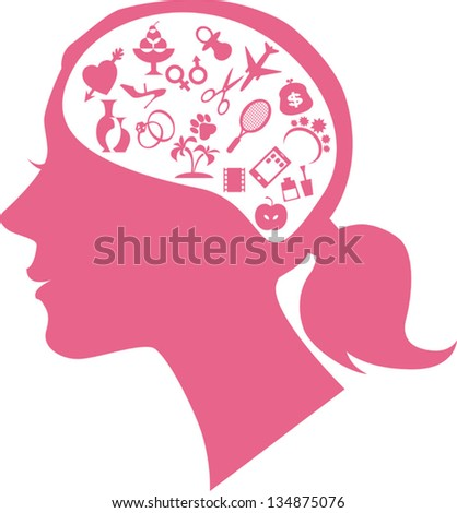 Female profile filled with assorted symbols of women's interests representing female mind or way of thinking - stock vector