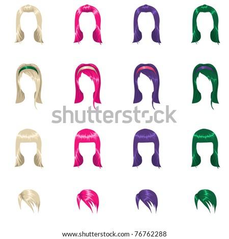 Female punk hair - stock vector