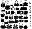 Female purse set - stock vector